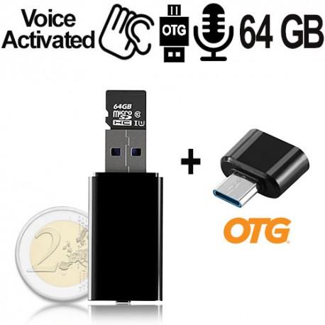 Micro USB-Voice-Recorder, 64GB bis 752 Std., Voice-Activated, OTG
